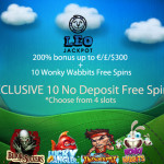 200% Casino Bonus + 10 No Deposit Free Spins on 4 Slots at Leo Jackpot Casino