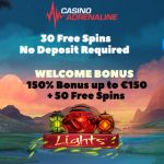Exclusive Promotion at Casino Adrenaline – Get 30 Real Money No Deposit Free Spins & 150% up to £/€/$150 + 50 Free Spins