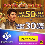 Exclusive NEW Offer!! Claim 80 PlayOJO Book of Dead No Wagering Free Spins at PlayOJO